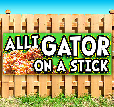 ALLIGATOR ON A STICK Advertising Vinyl Banner Flag Sign CARNIVAL FAIR FOOD USA