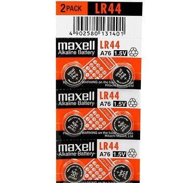 LR44 Maxell (6 piece) LR44 MAXELL A76 L1154 AG13 357 New Alkaline Battery