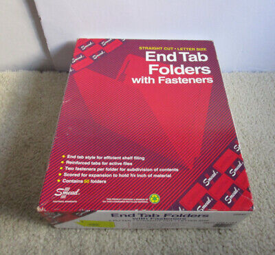 Pack Of 50 Smead 25940 Yellow End Tab Folders With Fasteners - New