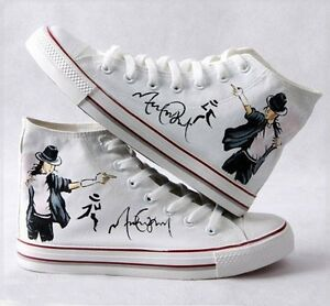 Michael Jackson Hand Painted sneaker shoes For men women White Color