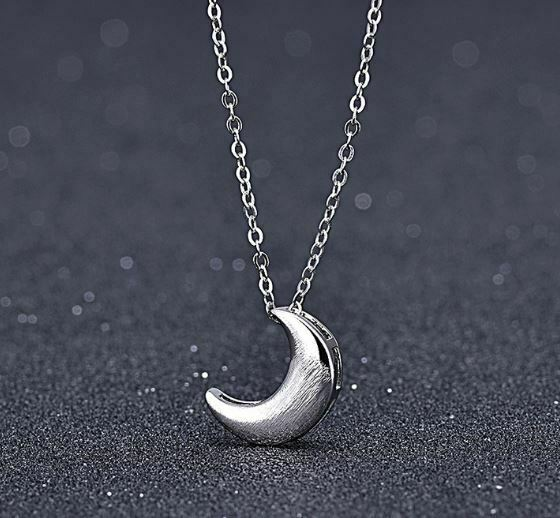 Jewellery - Moon Charm Pendant 925 Sterling Silver Chain Necklace Womens Jewellery Gifts UK