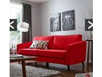 New Red Fabric 3 Seater Sofa