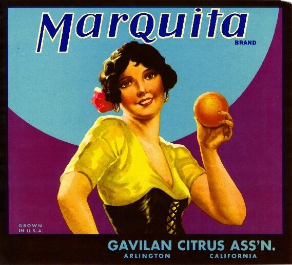 Arlington Riverside Gavilan Marquita Orange Citrus Fruit Crate Label Art Print