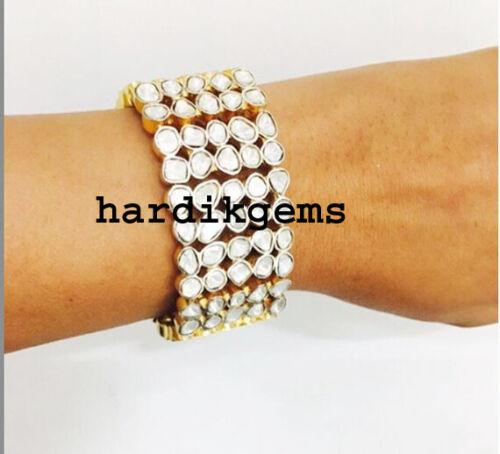 Natural Rose Cut Diamond Uncut Polki 925 Silver Victorian Bracelet Jewelry