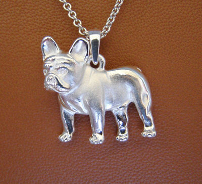 Small Sterling Silver French Bulldog Standing Study Pendant