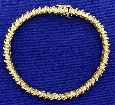 "10.50 Carat Round Cut Diamond Tennis Bracelet 7 1/2"" 14k Yellow Gold Finish 925"