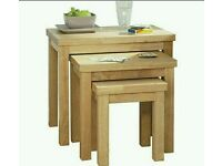 Bentinck Furniture set of 3 nest of tables natural colour finish