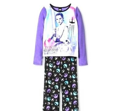 Girls Star Wars Pajamas (New Rey STAR WARS Disney Girls Purple & Black 2Pc Fleece Pajamas Sizes XS S M)