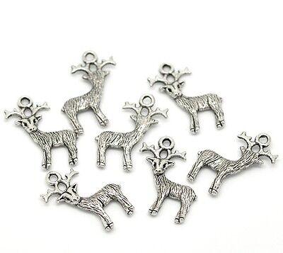 10 Reindeer Christmas Charms Antique Silver Tone Pendants J15385