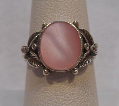 Dot Mother Of Pearl Ring - Estate~Pink Mother of Pearl, Leaf & Dot Design 925 Sterling Silver Ring Size 7
