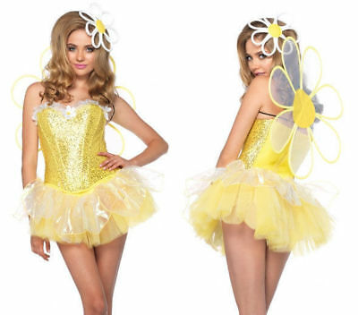 NEW Women's 4 PC Daisy Doll Costume W/ LED light up Tutu, Head Piece SIZE SMALL - Daisy Costume