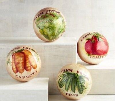 Spheres - Farm Vegetable Theme - Kitchen Decor - Capiz NWT Pier 1 - Kitchen Theme Decor