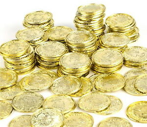 100 Plastic Pirate Gold Play Toy Coins Birthday Party Favors Pinata Money Coin
