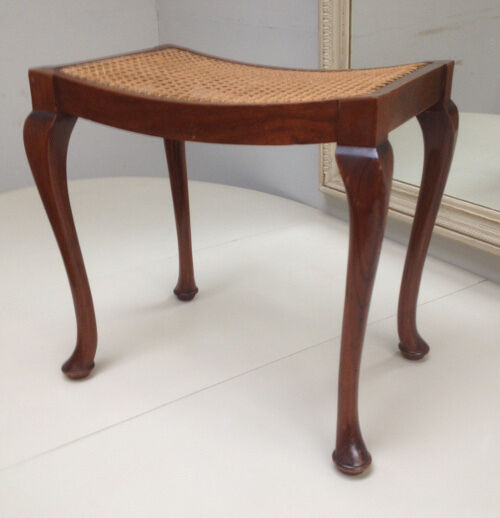 Old dressing table stool with Cane seat with cabriole legs