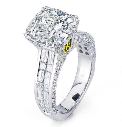 6.30 Ct Cushion Cut Diamond Engagement Ring Invisible Setting Plat 950 G,VS2 GIA