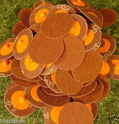 """100pc 2 """" ROLL LOCK SANDING DISC 50 Grit MADE IN USA Heavy Duty Aluminum Oxide"""
