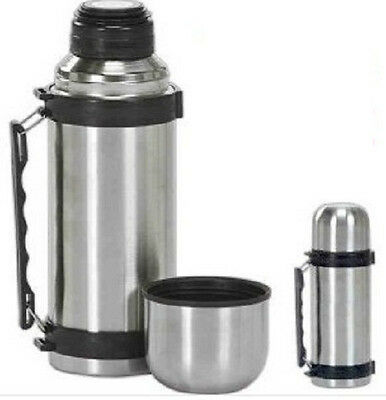 Vacuum Stainless Steel Insulated Coffee Soup Bottle w. Handles1 Liter HOT/COLD