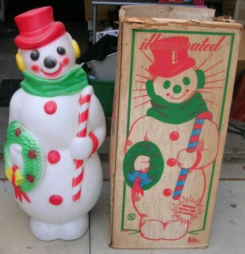 Vintage Empire Blowmold Blow Mold Snowman 1315 W/Box 60mi S Of Chicago