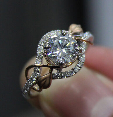1.05 Ct. Natural Round Cut Pave Leaves Design Diamond Engagement Ring - GIA Cert 3