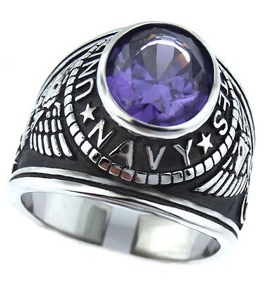 Amethyst Stone Silver Ring - Purple Amethyst Stone US Navy Military Silver Stainless Steel Mens Ring