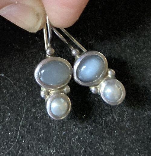 Vtg Janice Girardi JGD Pearl Cat's Eye Moonstone 925 Sterling Silver Earrings