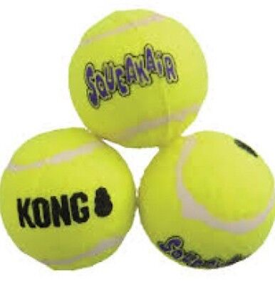 KONG SqueakyAir Tennis Balls  - Pack of 3,  Small For Small Dogs And Puppies
