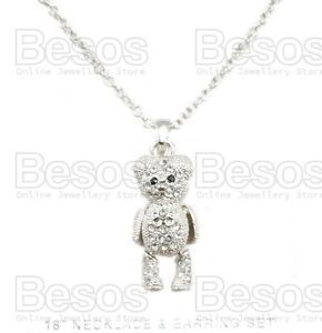 CRYSTAL TEDDY BEAR articulated limbs pendant NECKLACE&CHAIN silver rhinestone UK