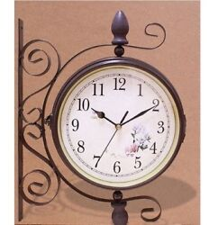 Antique European Style Wall Clock Both Side Watch Luxury Interior  Present a_c
