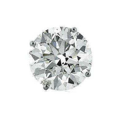 0.75 carat Round Diamond single Stud Earring 14k White Gold, GIA certified F SI1