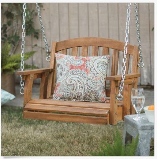 Garden Furniture - Outdoor Wooden Porch Swing Hanging Chair Single Seat Patio Garden Furniture NEW
