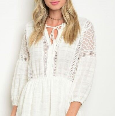 M New White Boho Crochet Lace Cotton Dress Blogger Womens Medium Wedding Party