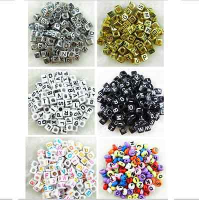 100pcs 6mm Acrylic Mixed Alphabet Letter Beads Square/Round Flat Spacer Beads