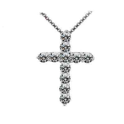 Women's classic 925 Silver Crystal Cross Pendant Necklace jewelry Elegant Gift