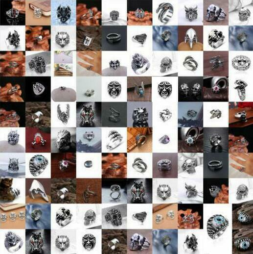 Jewellery - Heavy Stainless Steel Gothic Punk Biker Rings Fashion Mens Skull Jewelry US 8-11
