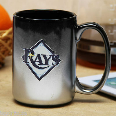 Rays Mug - Tampa Bay Rays Mug Black Chrome Coffee Mug 15 oz.