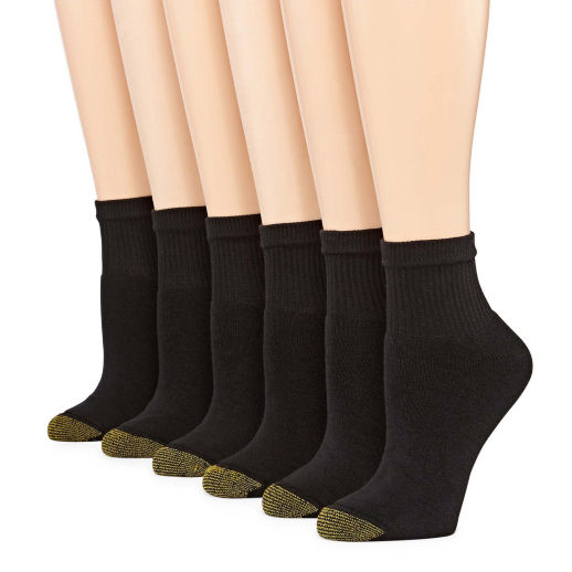 Gold Toe 6 Pair Quarter Socks – Womens – Black Clothing, Shoes & Accessories