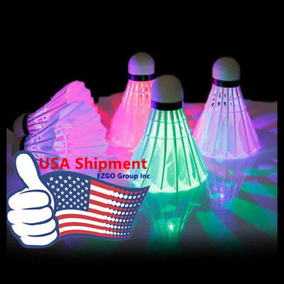 4pc-LED Badminton Set Shuttlecock Dark Night Glow Lighting Outdoor/Indoor Sports