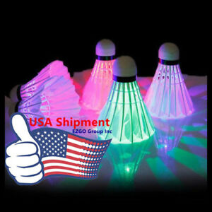 12PCS LED Shuttlecock Badminton Set Dark Night Glow Birdies Lighting