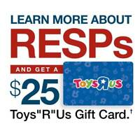 """Learn more about RESPs and get a $25 Toys""""R""""Us gift card."""