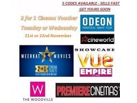 MEERKAT MOVIES 2-for-1 CINEMA TICKET VOUCHER CODE, Odeon Vue CineWorld