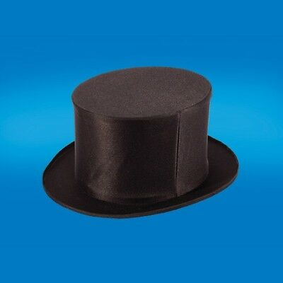ADULT BLACK FOLDING COLLAPSIBLE TOP HAT DANCERS MAGIC MAGICIANS COSTUME HAT M L - Top Hat Costume