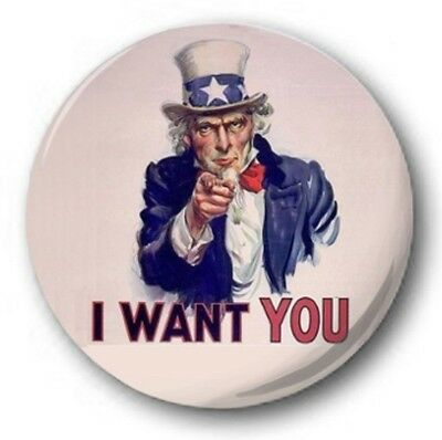 "I Want You - 25mm 1"" Button Badge - Uncle Sam, World War USA"