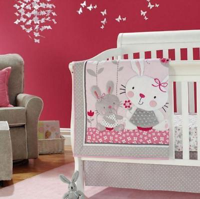 2019 Hot Angel Rabbit Baby Crib Cot Bedding Quilt Bumper Sheet Dust Ruffle 4Pcs Angel Baby Nursery Bedding