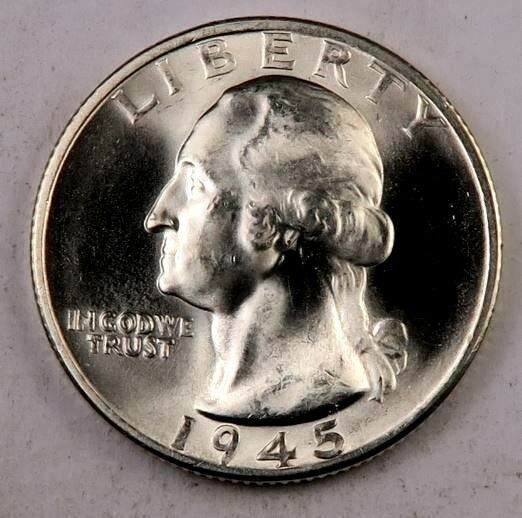 1945-S Washington Quarter // Gem BU // 90 Silver // 1 Coin - $13.98