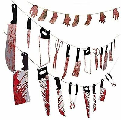 3 Sets Halloween Scary Bloody Garland Banner with 28 Pieces,Bloody Foot and