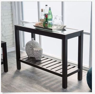 Entryway Table Console Sofa Accent Storage Hallway Wood Black Glass Top Shelf