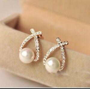 Uk Er Pearl Gold Diamante Earrings Crystal Drop Cubic Zirconia Stud Cer