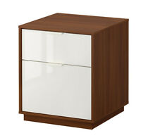 IKEA NYVOLL Chest with 2 drawers, medium brown, white