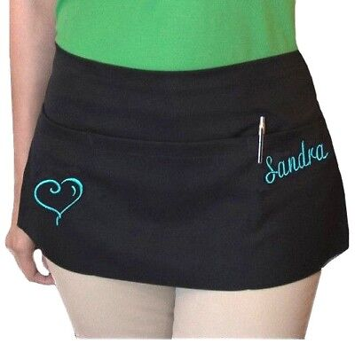 New Black Server Apron 3 Pocket Cocktail Waist Waitress Restaurant Custom Name