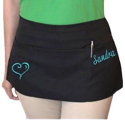 1 new black server apron 3 pocket waist waiter waitress restaurant Custom name